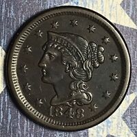 1848 BRAIDED HAIR COPPER LARGE CENT COLLECTOR COIN. FREE SHIPPING