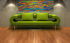 "This is a Print ABSTRACT rainbow painting on canvas aboriginal art 36"" x 12"""