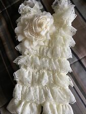 Vintage Infant Baby Girl Ivory Lace Petti romper Size Small