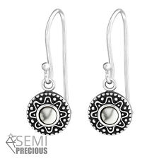 925 Sterling Silver Circle with Howlite Gemstone Drop/Dangle Earrings D5