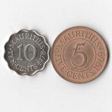 Mauritius 1969 5 Cents & 1978 10 Cents - 2 Coins Lot # 847