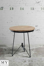 Industrial bedside table reclaimed wood and steel -GASPARD