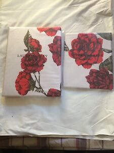 NEW LAURA ASHLEY ROSELIE PRINTED CRANBERRY SINGLE DUVET COVER AND PILLOWCASE