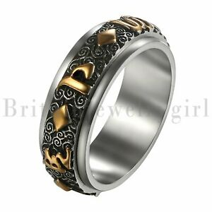 MPRAINBOW 6MM Buddhism Tantra GuhyaYellow Mammon Mantra Rotating Band Ring Wedding Band Ring Stainless Steel