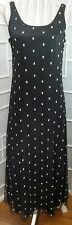 Sz 6P Rabbit Designs Scoop Neck Sleeveless Black With White Bows Lined Maxi