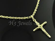 14k solid yellow gold hollow rope chain necklace cross pendant #3580 3.60gr 16in