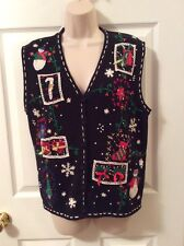 ERIKA Sz Large Beaded Christmas Sweater Vest Black With Bows Snowman Trees Gifts