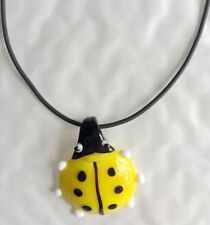 new women pendants necklace Handmade ladybug lampwork Murano art glass beaded