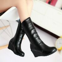 Fashion Womens Round Toe Wedge Heels Side Zip Mid Calf Punk Boots Outdoor Shoes