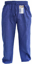 Plain Elastic Cotton Hemp Loose Casual Cargo Lounge Trousers Summer Light Pants