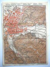 stampa antica antique map pianta Germany Friburgo Freiburg 1914