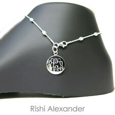 Moon Bead Monogram Personalized Anklet 925 Sterling Silver Rolo Diamond-Cut Oval