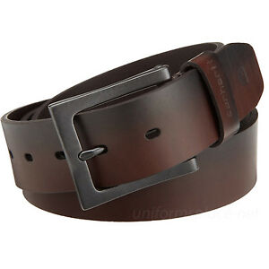 "Carhartt Work Belt Men's 1-1/2"" Leather Anvil Belts Metal Buckle Brown or Black"