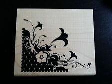 INKADINKADO SCRAP BOOK WOOD RUBBER STAMP FLORAL FLOWER CORNER