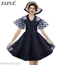 Women Vintage Short Sleeve Lace Polka Dot Evening Party Cocktail Swing Dress 3XL