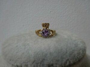 9ct Gold Claddagh Ring Size N Amethyst and Cubic Zirconia