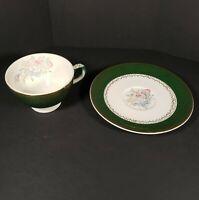 Vintage Teacup And Saucer Green Gold Floral Marked M