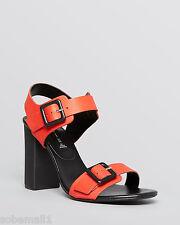 Steven by Steve Madden Sagharbr Leather Open Toe Coral Sandals Size 8
