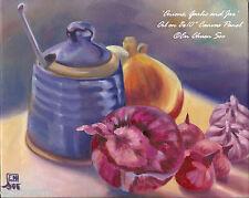 Still-life Original oil painting - Onions, Garlic & Jar (1) - 2000-Now