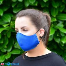 MASKERAID Royal Blue Cotton Canvas Face Mouth Mask Reusable Machine Washable