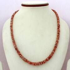 NATURAL RED SUNSTONE GEMSTONE 925 SOLID STERLING SILVER BEADED NECKLACE 24 GRAMS