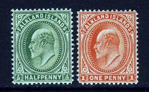 FALKLAND ISLANDS King Edward VII 1904-12  ½d. & 1d. Values SG 43 & SG 44 MINT