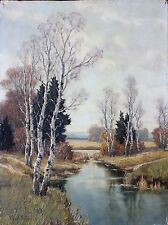 Ernest Parton American 1845-1933 Colorful Oil Painting of River Landscape Scene