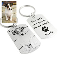 Personalized Engraved Dog Photo Keychain Pet Loss Gift Custom Dog Memorial Gift