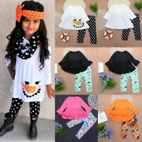 Baby Kids Girls Outfits Clothes T-shirt Tops Dress +Long Pants Leggings 2PCS Set