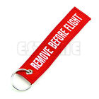 2 Pcs Remove Before Flight Key Chain Luggage Tag Pull Woven Embroidery Keychain