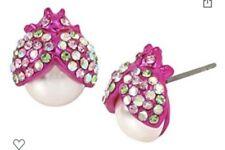 Betsey Johnson Pink Beetle Stud Earrings E1a