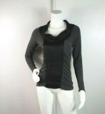 Cache Top Size Small Black Gray Long Sleeve Pullover Cowl Neck Stretch Blouse