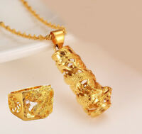 2 Pc Set 24K Gold Dragon Ring Pendant With Chain Link Necklace Womens Mens D545