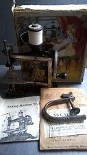 Antique Toy Sewing Machine+Original Box Instructions+McCalls Dolls Dress Pattern