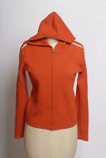 Banana Republic Merino wool hooded orange sweater w/ white stripes racing stripe