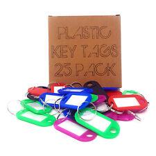 25 x Assorted Key Tags Key Ring Plastic FOB Label Name Car ID Tag Mixed Identity