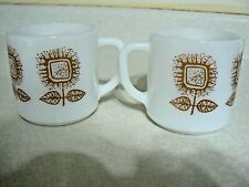 Federal Glass Coffee / Tea Mugs With Brown Flower Print Set of 2