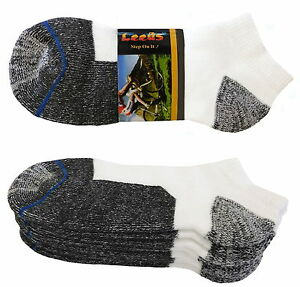 4 Pk No Show Premium Quality Leeds Low Cut Thick Socks Cushion Cotton Socks 9-11