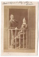 Named Victorian Lady & Gentleman in Rome - Antique Albumen Photograph c1880
