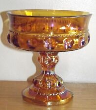 Vintage Indiana Marigold Carnival - Kings Crown - Pedestal Compote Candy Dish