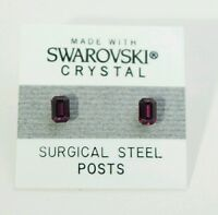 Purple Emerald Rectangle Earrings 5mm Small Crystal Made With Swarovski Elements