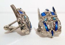 TRANSFORMERS OPTIMUS PRIME SILVERTONE/BLUE 3D DELUXE CUFFLINKS IN GIFT BOX
