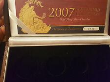 2007 GOLD PROOF BRITANNIA 4 COIN SET  BOX&COA ONLY