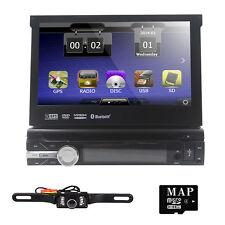 "Single 1 DIN 7"" Touch Screen Flip Out GPS Navi Car Radio DVD Player BT + Camera"