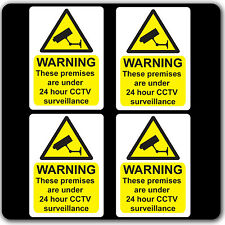 Pack of 4 CCTV 24hr Surveillance Warning Stickers Sign - Car Taxi Home Window