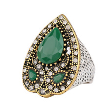 Luxury Men's Woman Gold plated Inlaid Green Stone Crystal Female Ring Size 9
