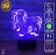 UNICORN RAINBOW GIRLS 3D Acrylic LED 7 Colour Night Light Touch Table Lamp Gift