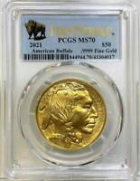 Buffalo $50 Gold Coin First Strike 31.1g 2021 PCGS MS 70 Free Shipping ! (9622N)