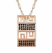 18K Gold GP SWAROVSKI Element Crystal Classic Square Pendant Necklace Black