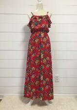 EASEL Anthropologie Boho Floral Print Button Down Maxi Dress Mustard M Medium